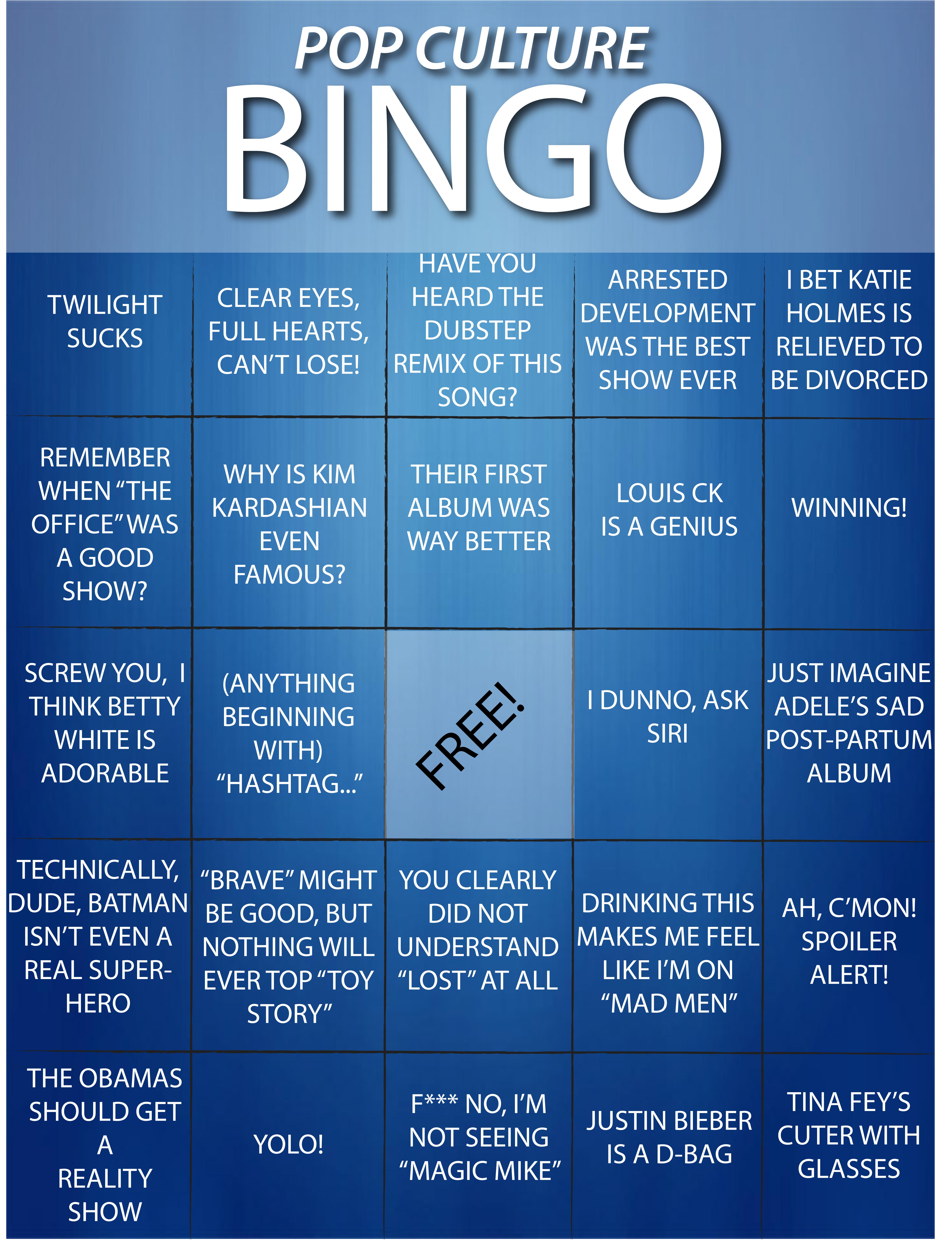 Pop Culture Bingo card