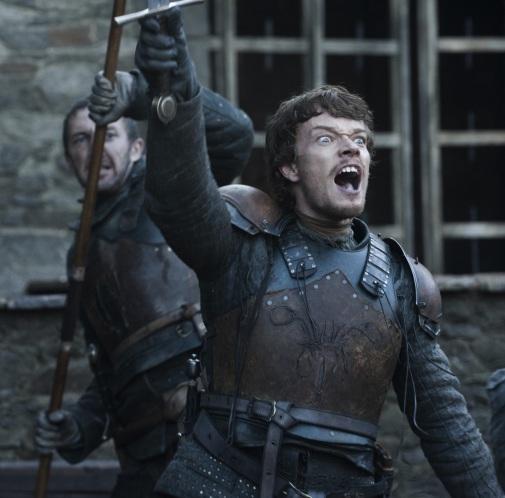 Theon Greyjoy celebrates