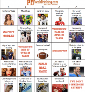 super bowl 47 bingo board