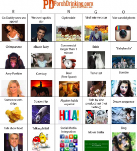 2013 Super Bowl Commercials Bingo