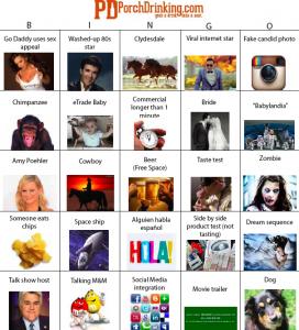 2013 Super Bowl Commercials Bingo