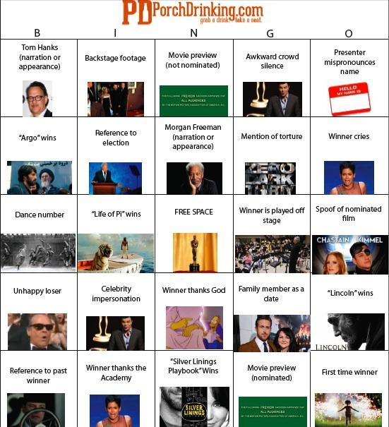 2013 Oscars bingo board academy awards