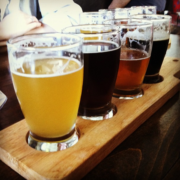 My first flight at Golden Road - Point the Way IPA is third from left.