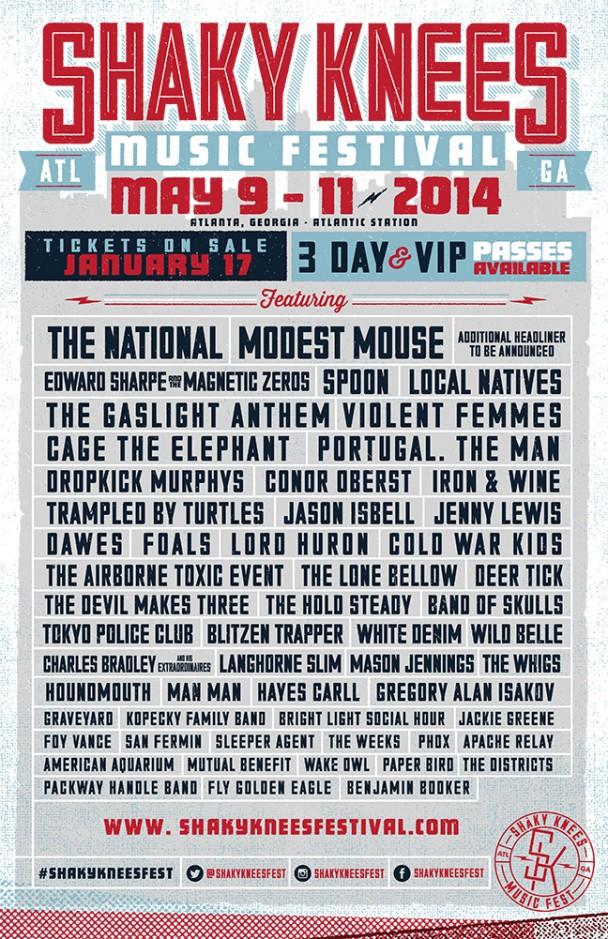 2014 shaky knees music festival lineup