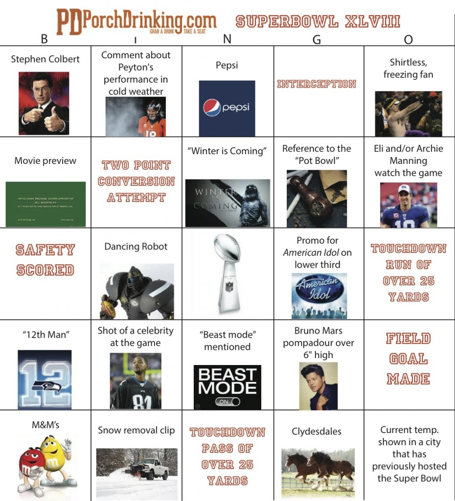 Super Bowl Bingo Card