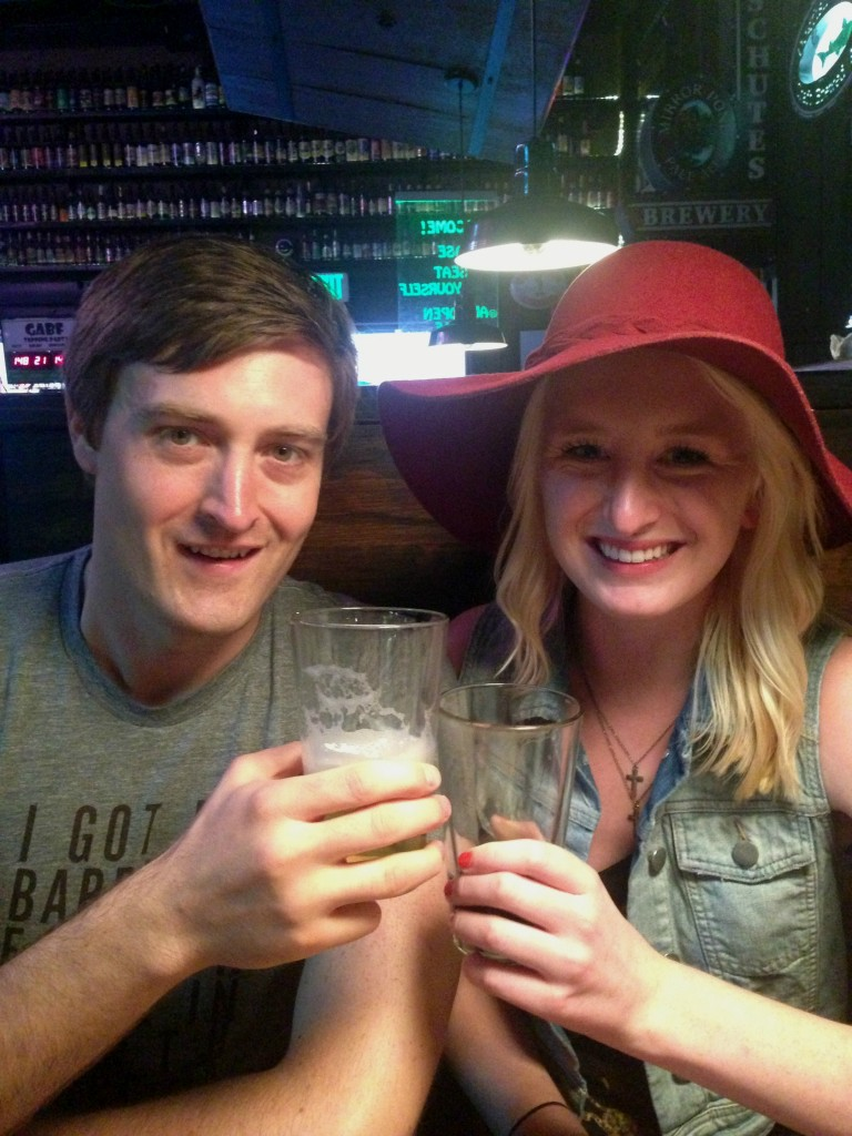 Chelsea Mitchell and Chris Day drinking Go To IPA and Spröcketbier