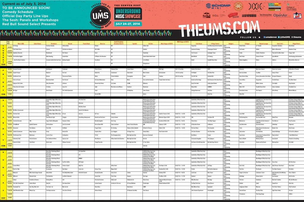 UMS 2014 Schedule Lineup