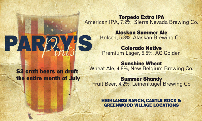 parry's pints for july 2014 - dbb