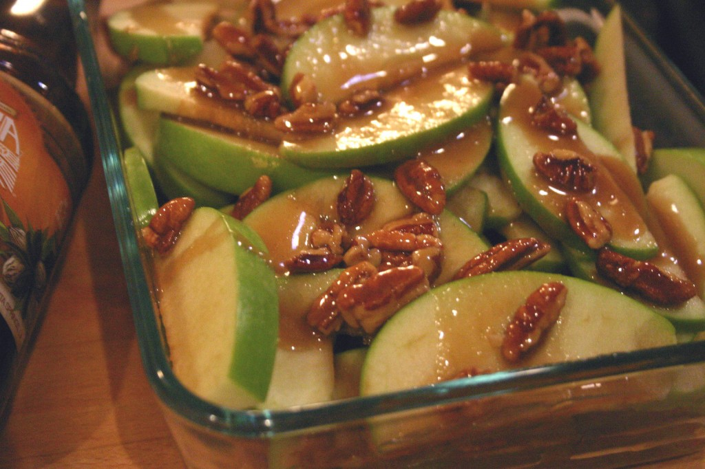 Drink and Spoon Pecan Caramel Apple Crisp