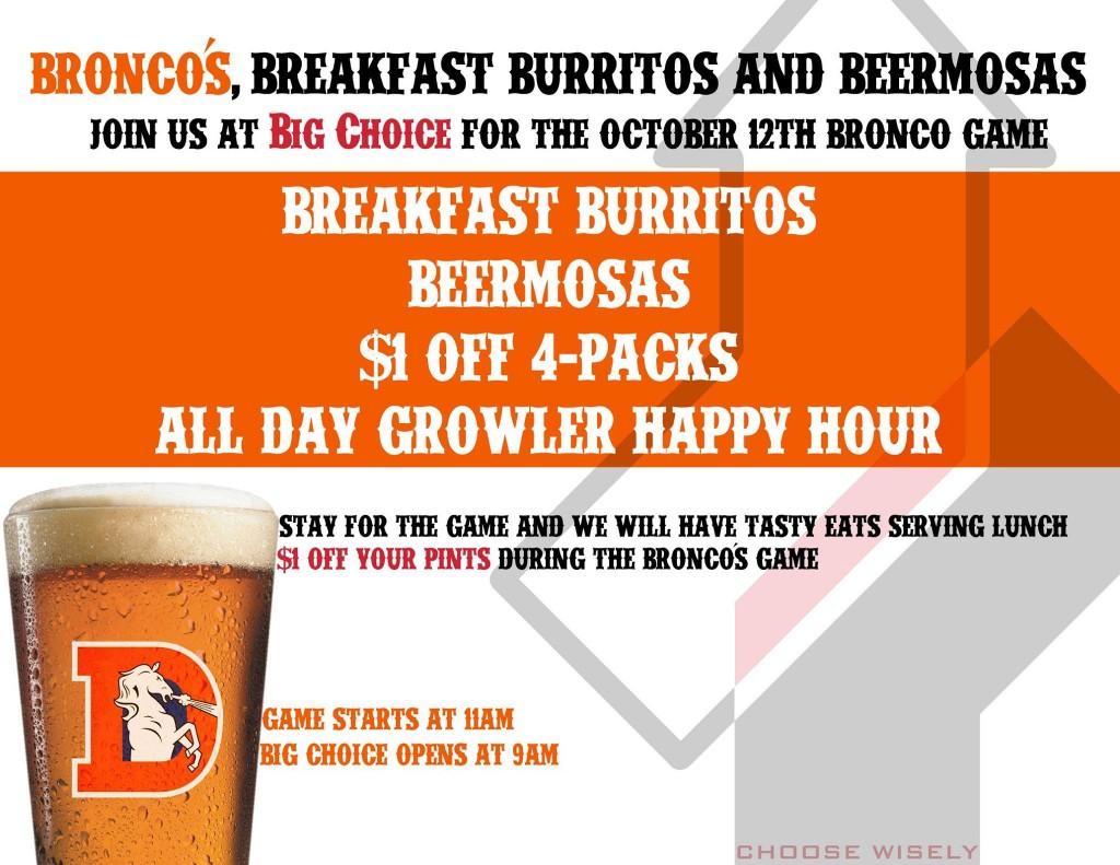 broncos  breakfast burritos and beermosas - dbb - 10-12-14