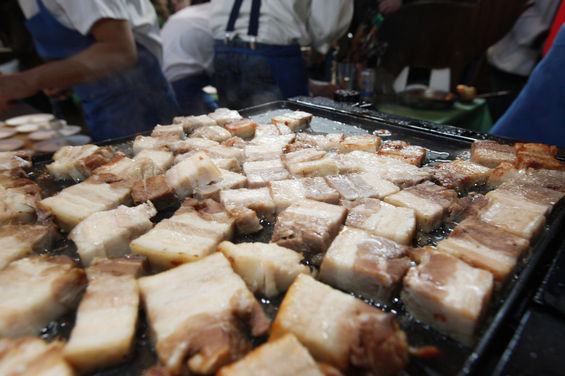 pig bellyin' - denver bacon & beer fest - 2012 - photo courtesy of Westword