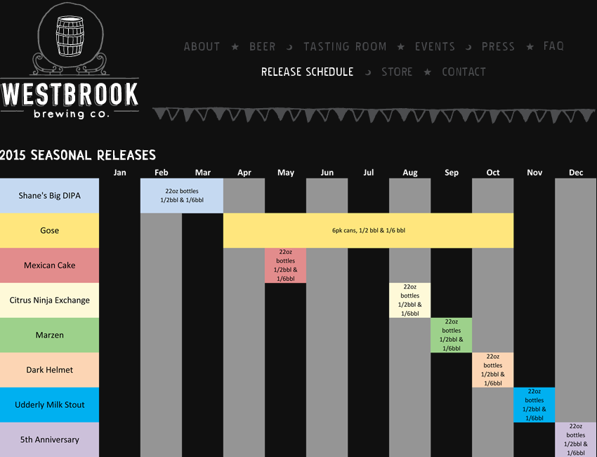 Westbrook Brewing Calendar 2015