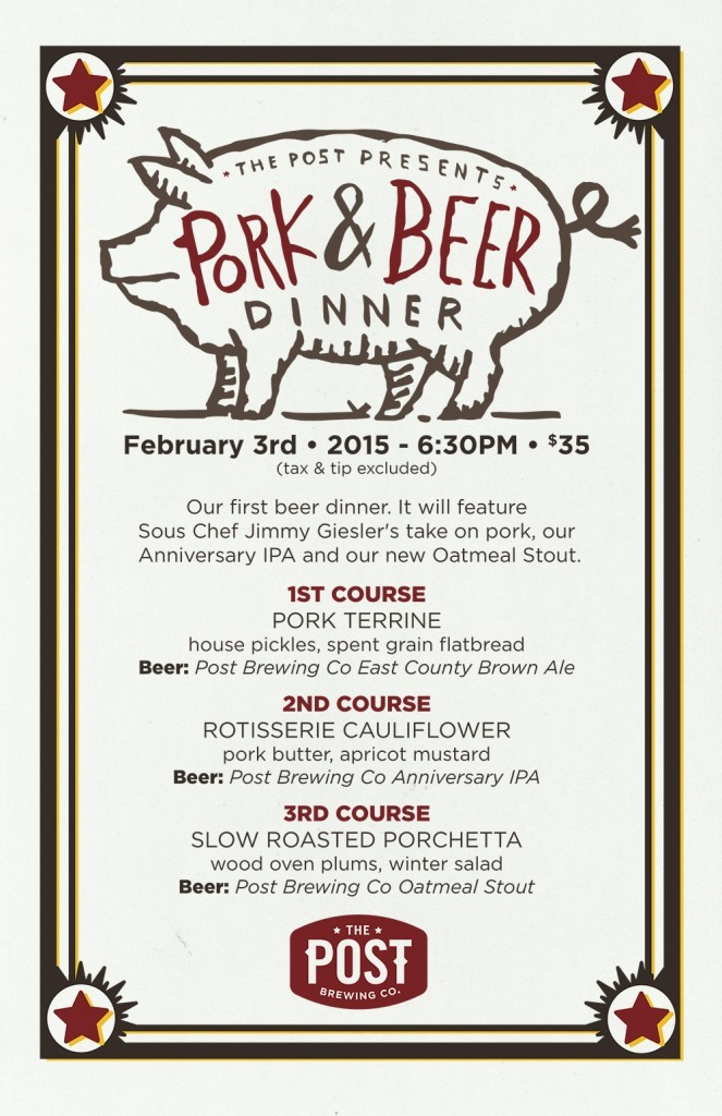 post brewing - pork & beer dinner - dbb - 02-03-15
