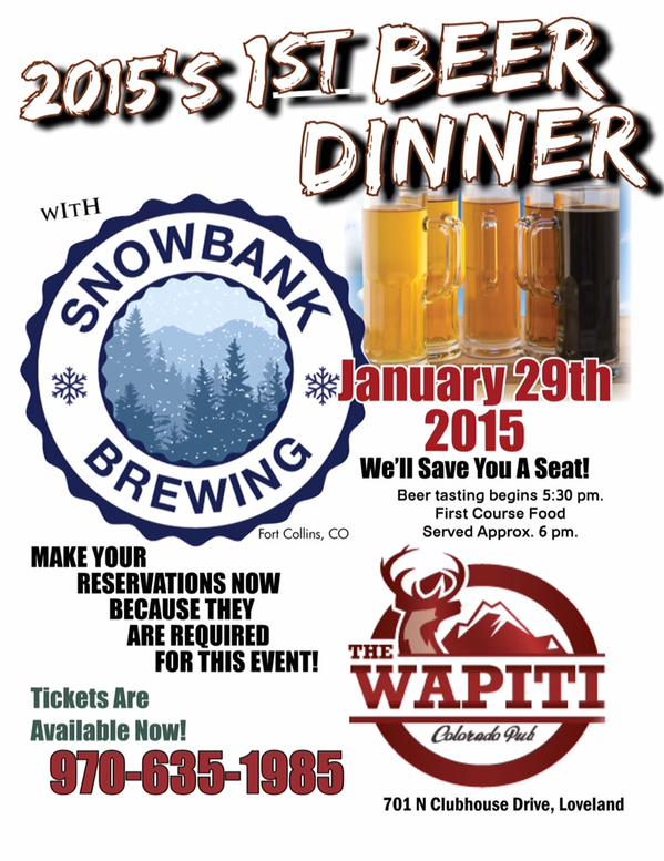 snowbank brewing beer dinner - wapiti colorado pub - loveland - dbb - 01-29-15