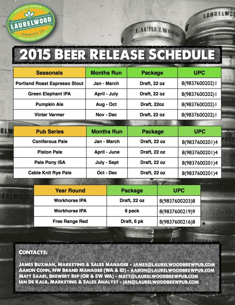 Laurelwood Beer Calendar
