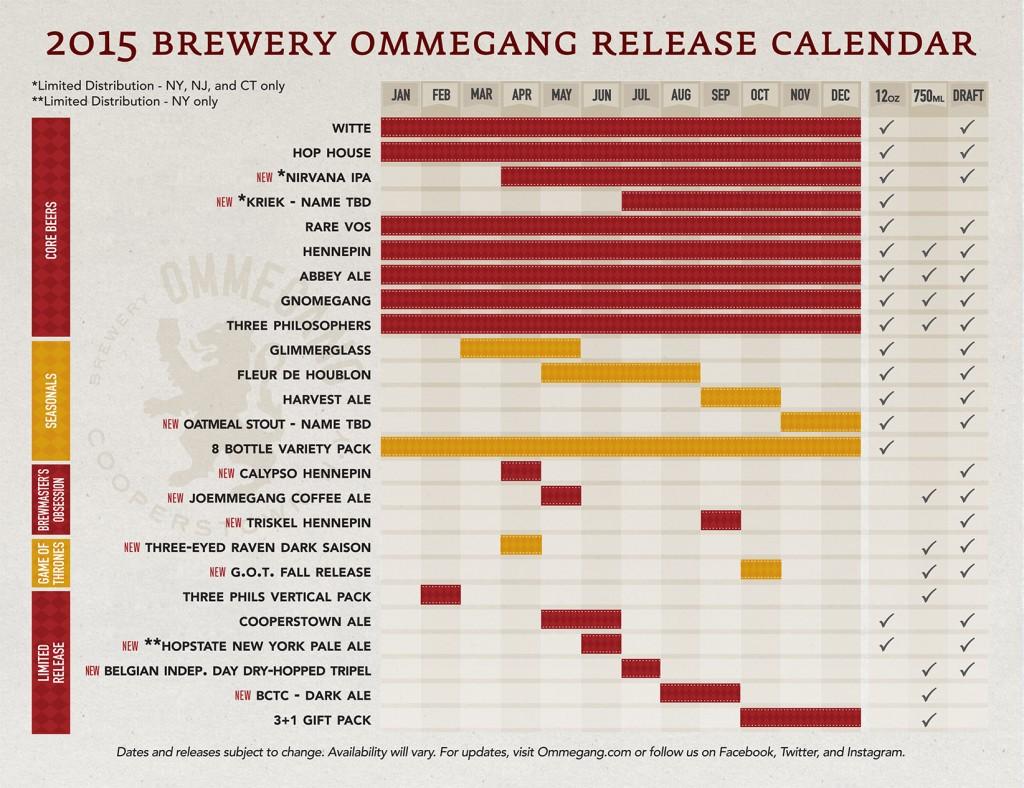Ommegang Beer Calendar 2015