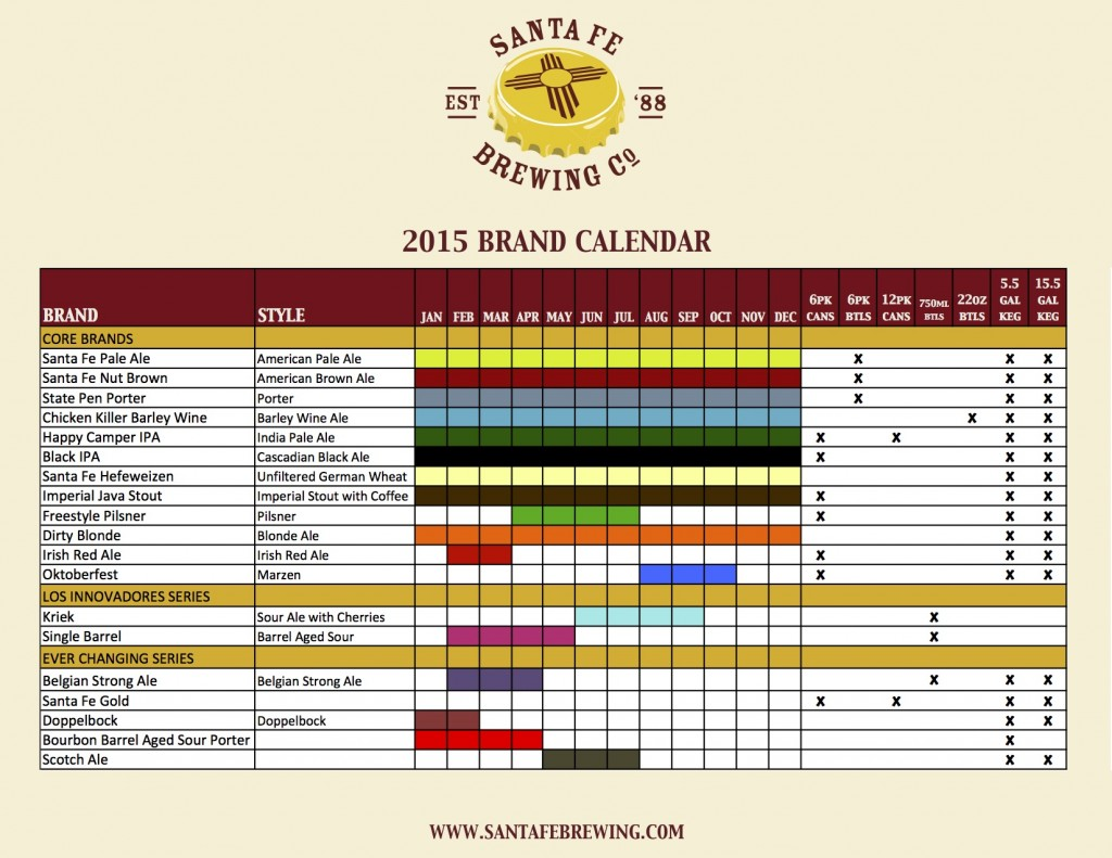 Santa Fe Brewing Calendar