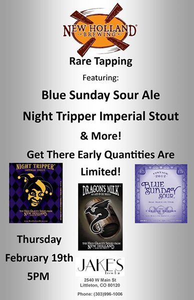 jakes brew bar - rare tapping of new holland - dbb - 02-19-15
