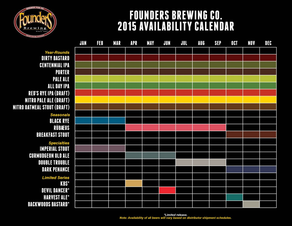 2015 Founders Brewing Calendar