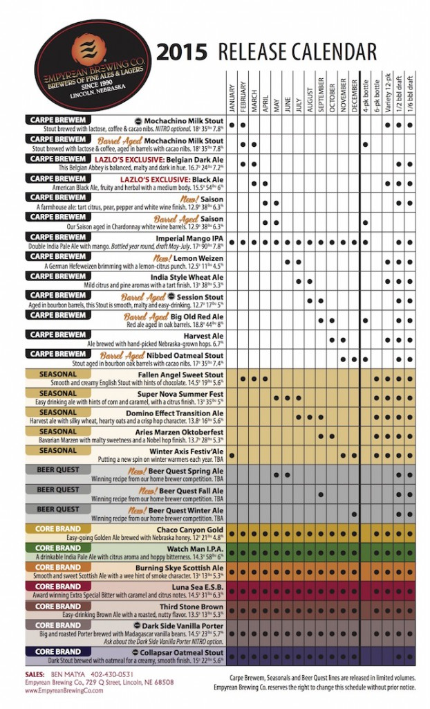 2015 Empyrean Release Calendar