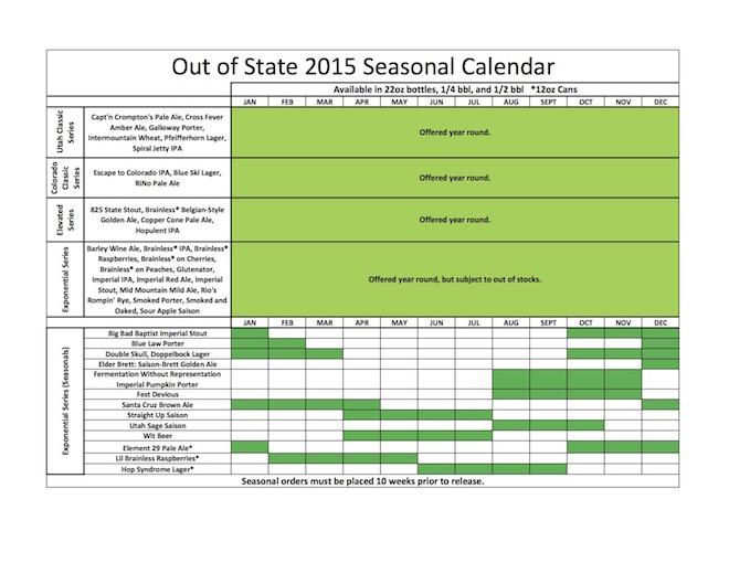 Epic Brewing 2015 Release Calendar