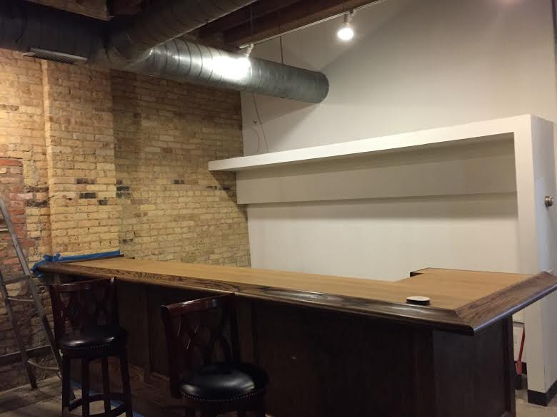 The bar in the tasting room is in place. Maplewood hopes to have it open to the public this summer.