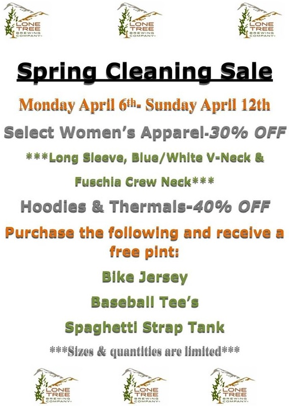 lone tree brewing co - spring cleaning merch sale updated - dbb  - now through 04-12-2015