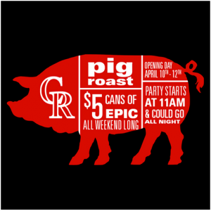 lucky pie lodo - MLB Opening Day - pig roast - dbb - 04-10-15