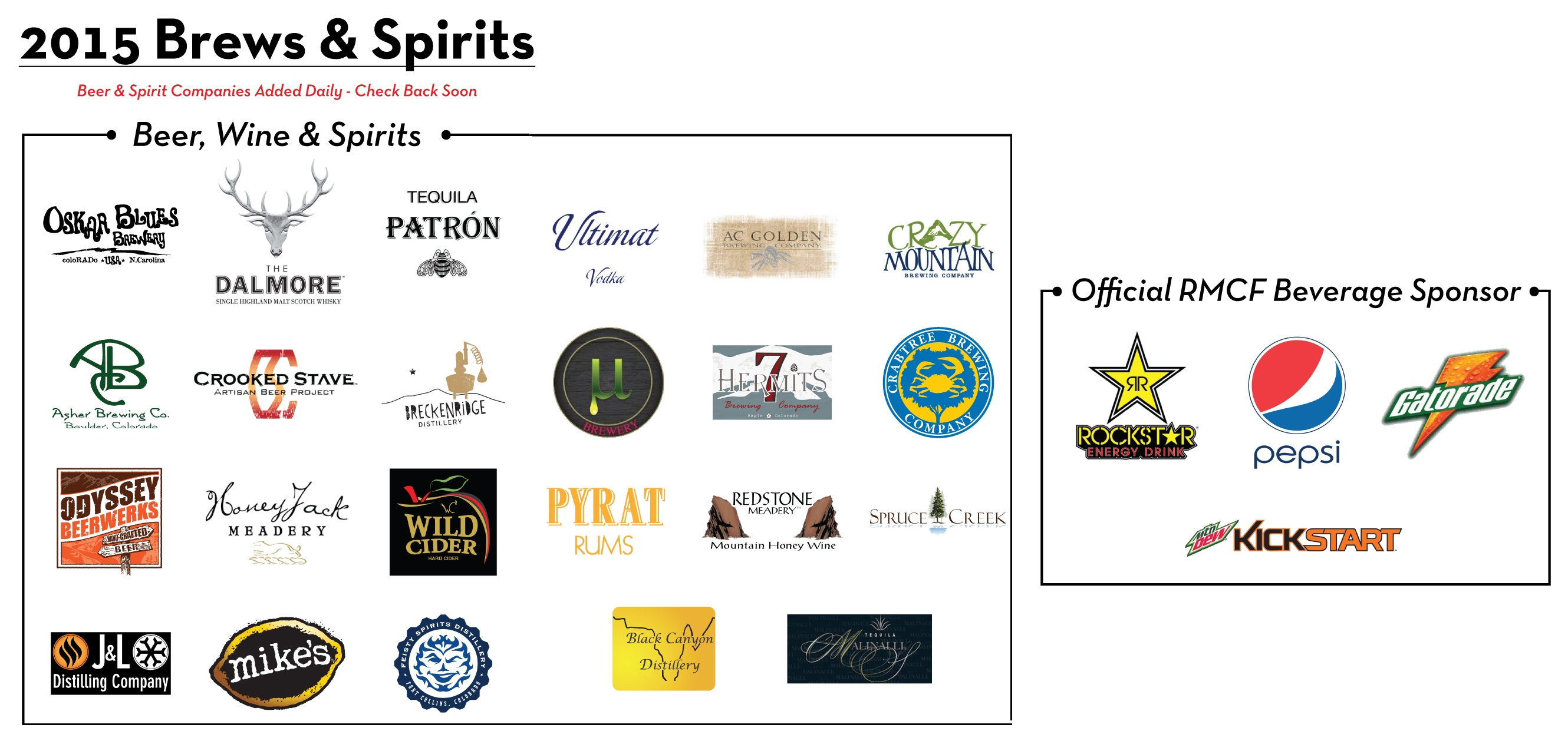 2015 Brews & Spirits and Beverage Sponsors