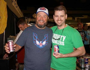 Chris Katechis of Oskar Blues poses with Porch Drinking staffer John Pylant