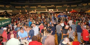 Crowded festival attendees at Augusta Beerfest