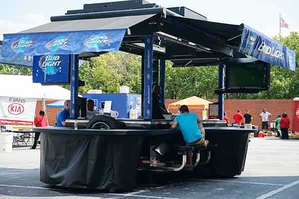 Bud Light gazebo is empty at beer festival