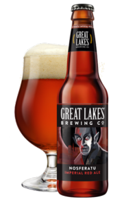 Bottle and glass of Great Lakes Brewing's Nosferatu Imperial Red ale