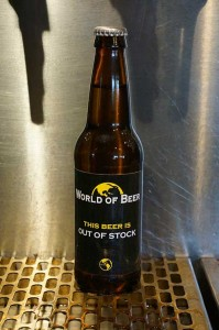 World of Beer Out of Stock bottle for place holding
