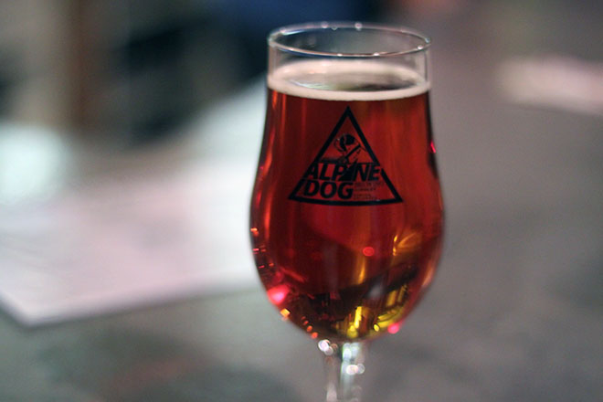 Bourbon Barrel-Aged Peach Pale Ale by Alpine Dog Brewery