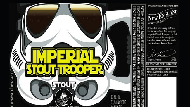 Imperial Stout Trooper New England Brewing Star Wars Themed Beer