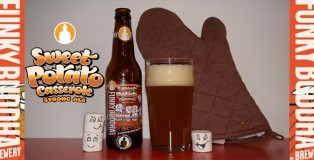 Cover photo for Funky Buddha Sweet Potato Casserole Strong ale beer showcase with bottle and filled glass and happy marshmallows.