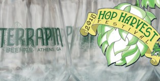 Terrapin Beer Co. glasses with the Hop Harvest logo overlapping