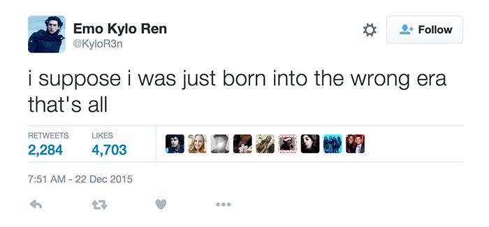 Emo Kylo Ren Tweet
