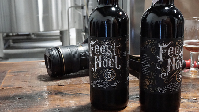 Bottles of 2015 Bourbon Barrel Aged Feest Noel lined up at Three Taverns. (Chris Powell/PorchDrinking.com)
