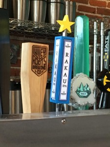 The Confluence Tap Handle, featured above with the blue handle and yellow star, was at the Denver Bicycle Cafe last month serving pints of Mockery Brewing's Rakau IPA and raising $1 for Trips for Kids for every pint sold.