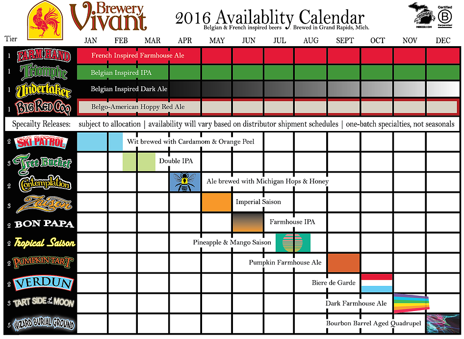 2015 Brewery Vivant Release Calendar