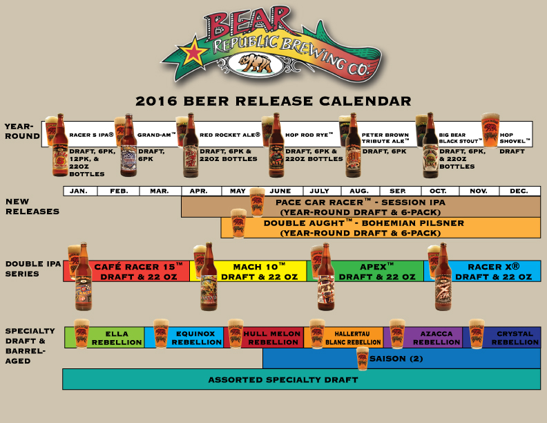 2016 Bear Republic Beer Release Calendar