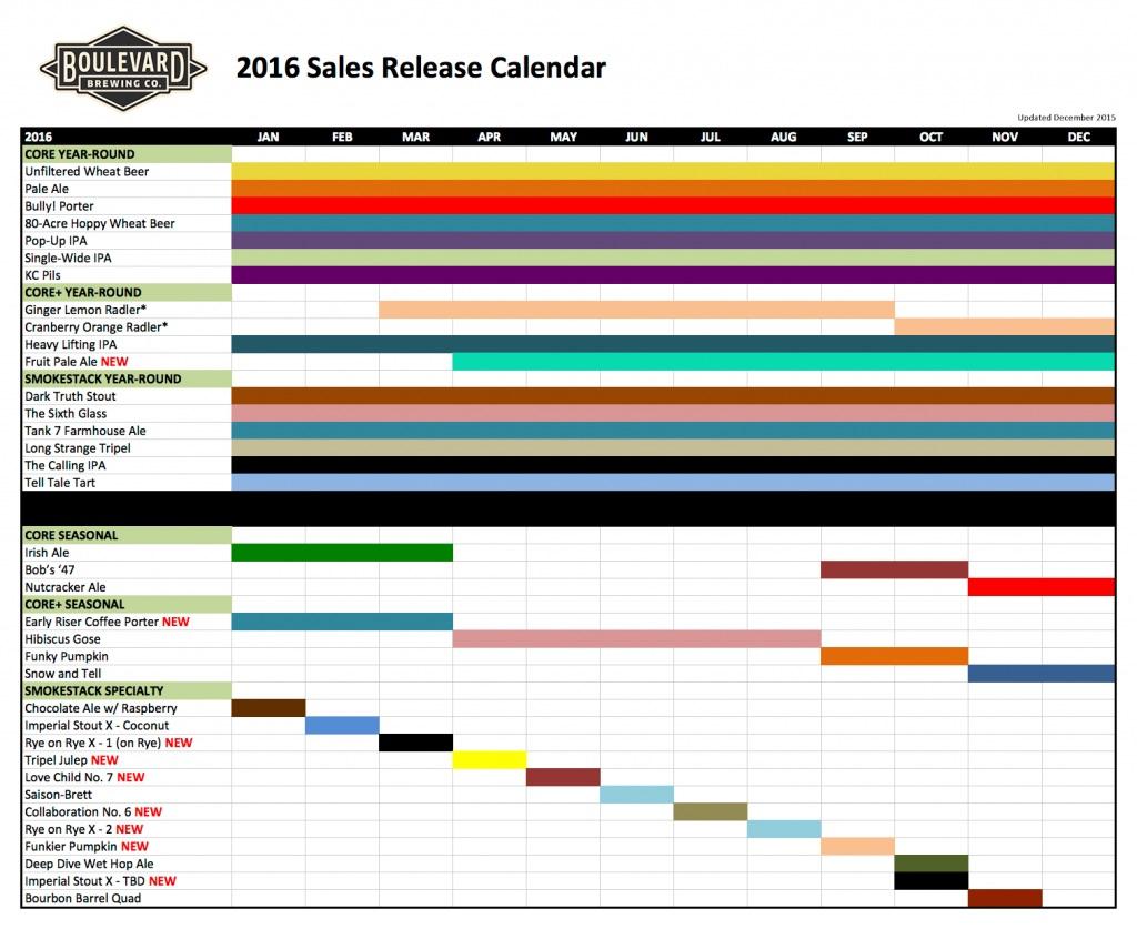 2016 Boulevard Brewing Release Calendar