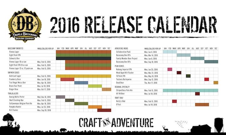 2016 Devils Backbone Beer Release Calendar