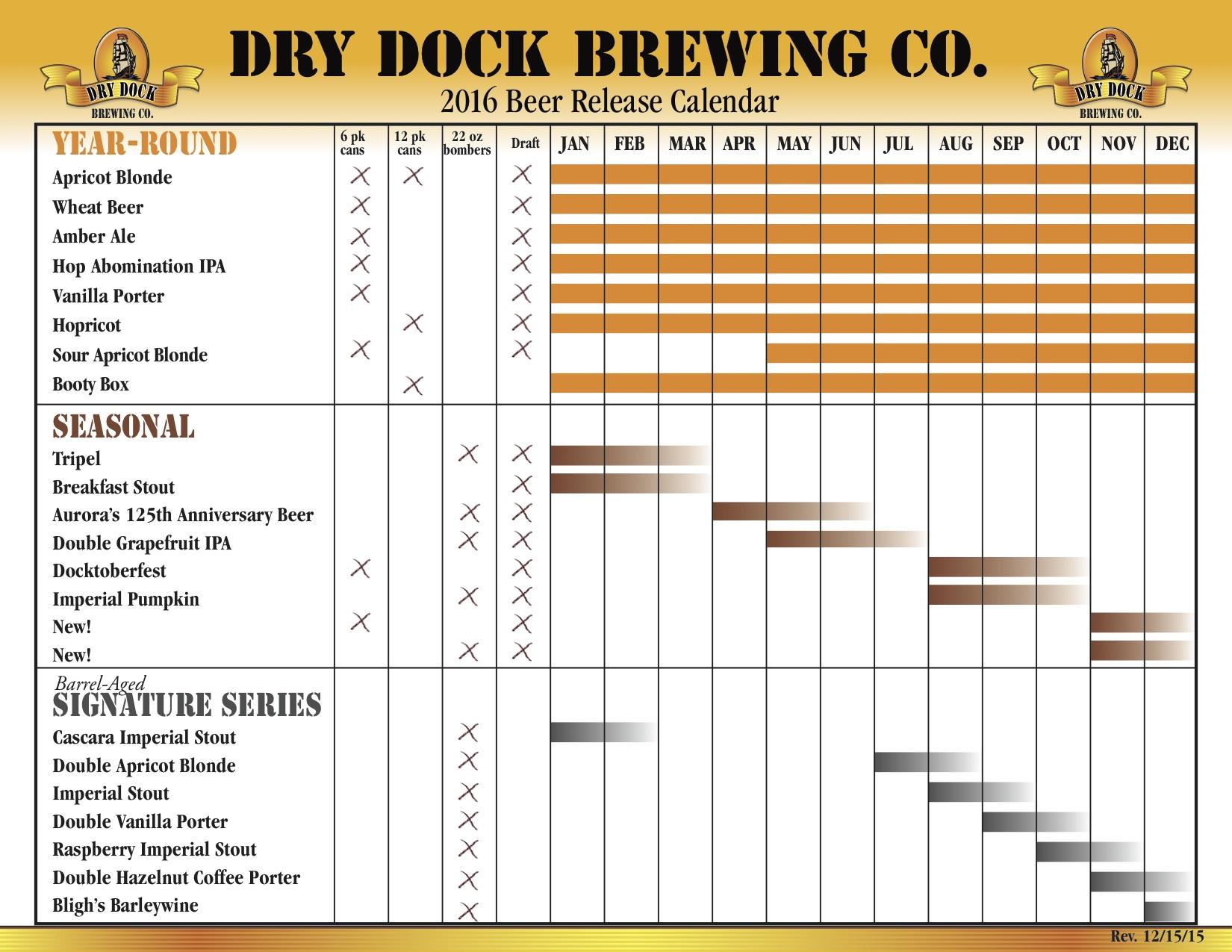 2016 Dry Dock Beer Release Calendar