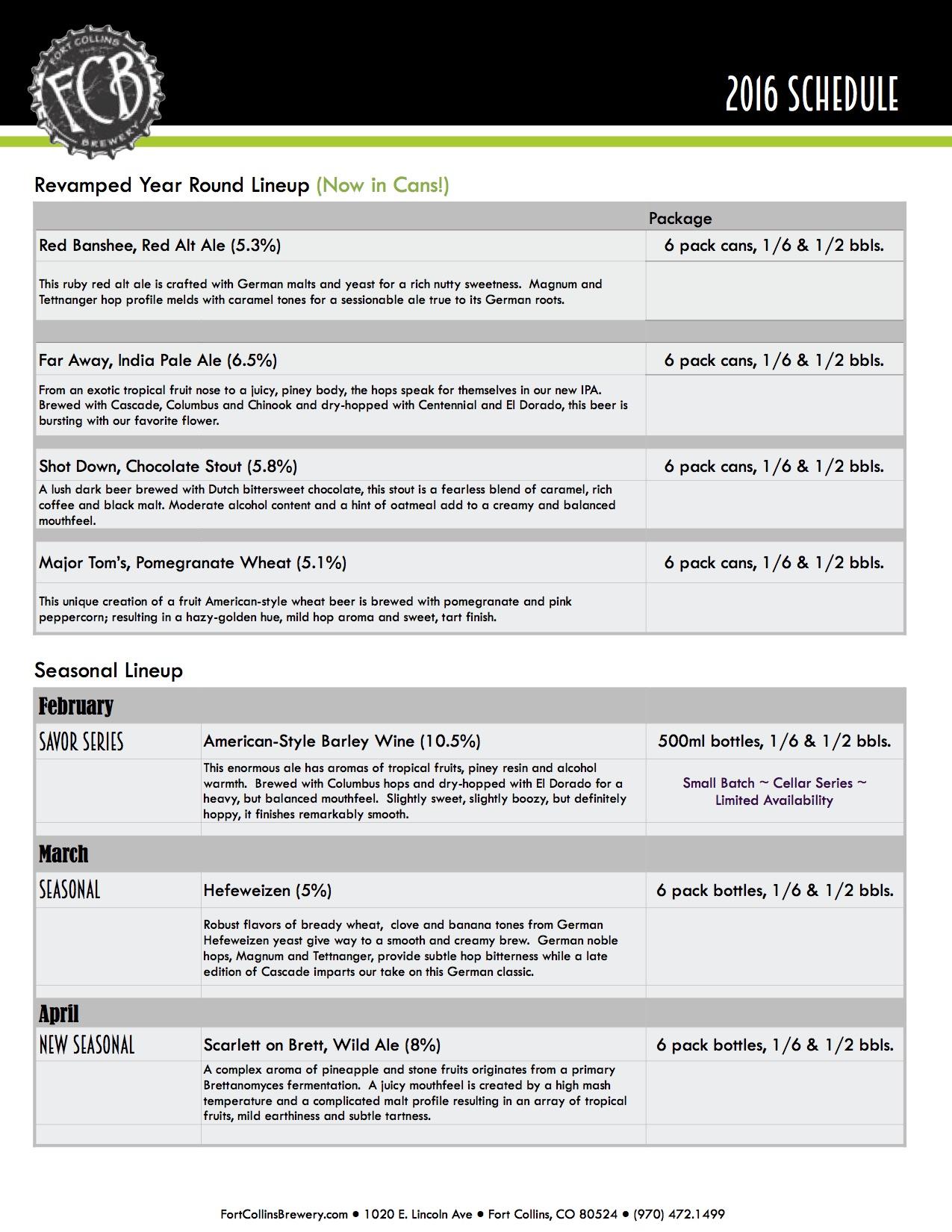 2016 Fort Collins Beer Release Calendar