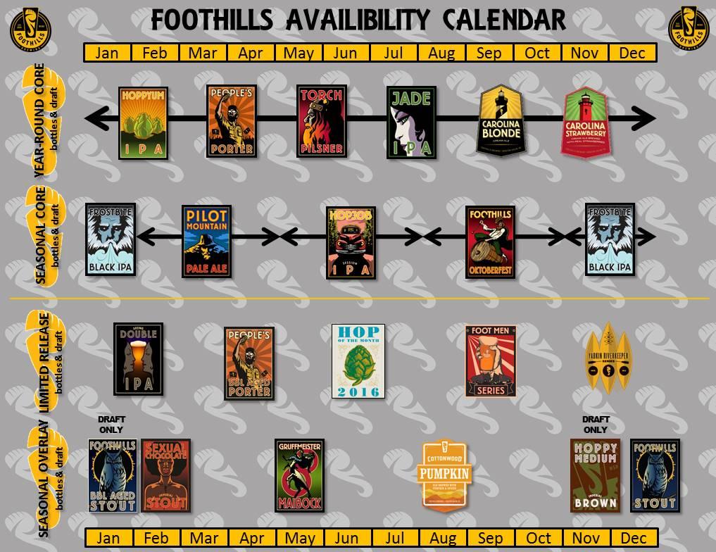 2016 Foothills Brewing Beer Release Calendar