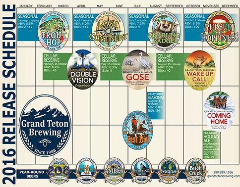 2016 Grand Teton Beer Release Calendar
