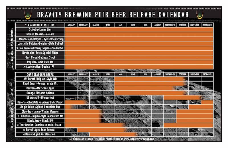 2016 Gravity Brewing Beer Release Calendar